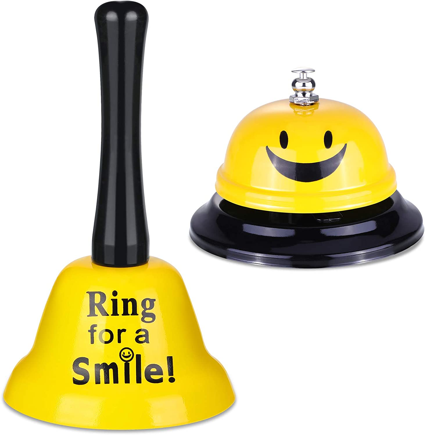 2 Pieces Ring Service Call Bell Smile Bell Hand Ringing Bell for Hotel Counter Reception Restaurant Food Line, Wedding Events Bell, 2 Styles