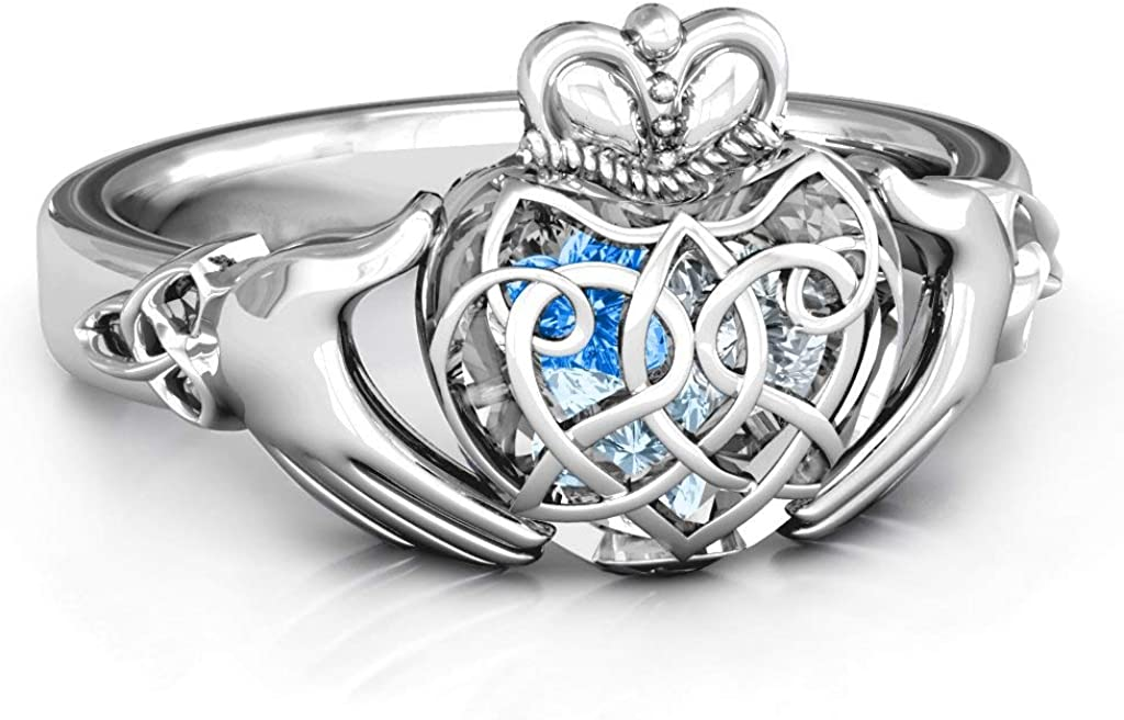 10K Gold Caged Hearts Celtic Claddagh Ring by JEWLR