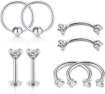 Incaton 16 Gauge Helix Tragus Piercing Ohrpiercing Lippenpiercing Nasenpiercing Bauchnabelpiercing Klemmkugelring Curved Barbell Edelstahl Septum