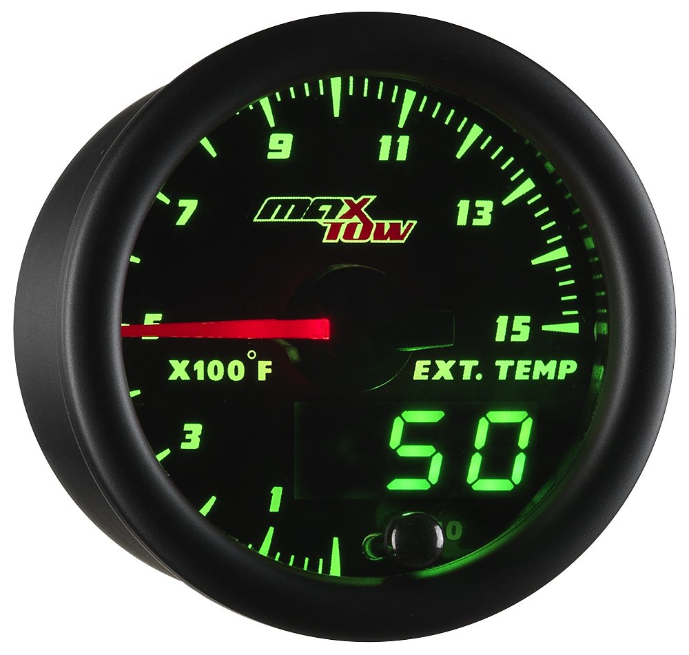 MaxTow Double Vision 1500 F Pyrometer Exhaust Gas Temperature EGT Gauge Kit - Includes Type K Probe - Black Gauge Face - Green LED Dial - Analog & Digital Readouts - For Diesel Trucks - 2-1/16'' 52mm