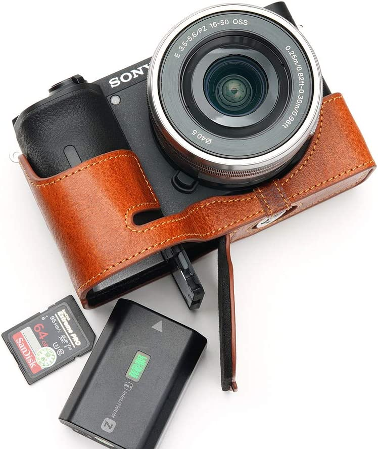 Handmade Genuine Real Leather Half Camera Case Bag Cover for Sony A6600 Rufous Color