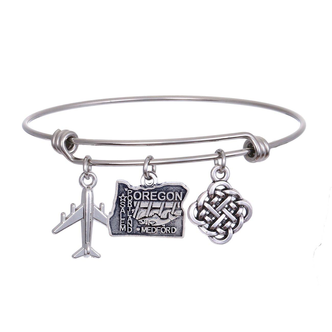JJTZX State Bangle U.S. Map Charm Expandable Travel Bracelet Long Distance Relationship Gift Best Friends Bracelet (Oregon)