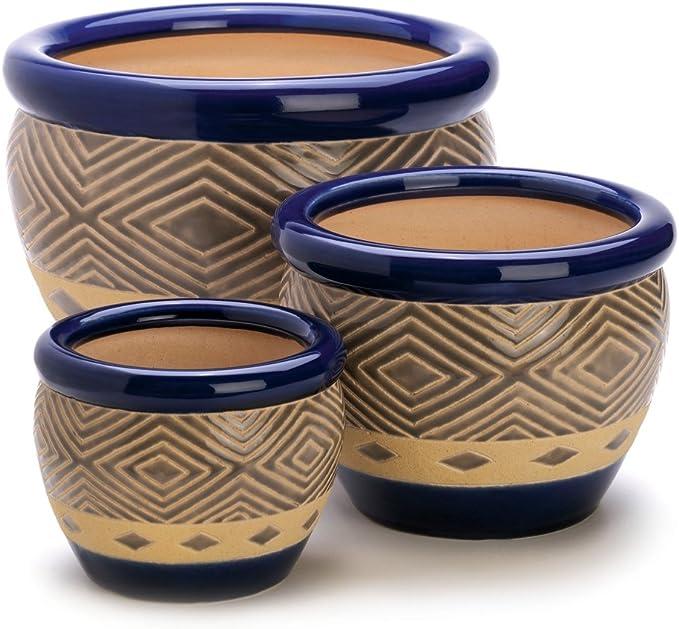 Gifts Decor Cobalt Planter Ceramic Garden Plant Flower Pot Set 3 Piece Home Kitchen Amazon Com