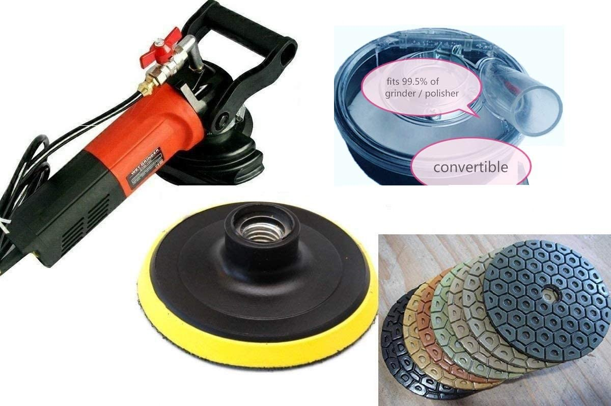 "5/"" Variable Speed Wet Polisher 5/"" Diamond Polishing Pad 22+1 stone masonry floor"