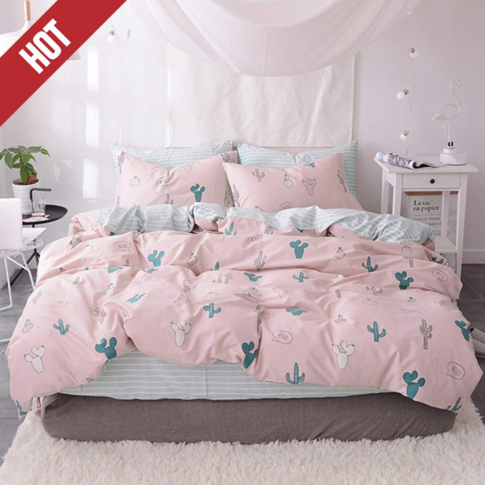 【Newest Collection】Duvet Cover Twin Cotton Girls Duvet Cover Pink Cactus Duvet Cover Cartoon Stripes 3 Pieces Plant Cacti Bedding Set Cute Bedding Collections for Adult Kids,NO Comforter NO Sheet