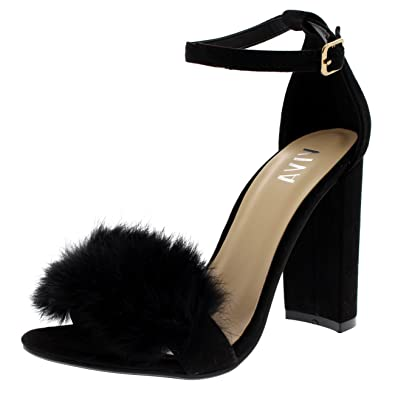 d6d8783cedb Viva Womens Evening Block Heel Fashion Cut Out Party High Heels Fluffy Pumps  - Black -