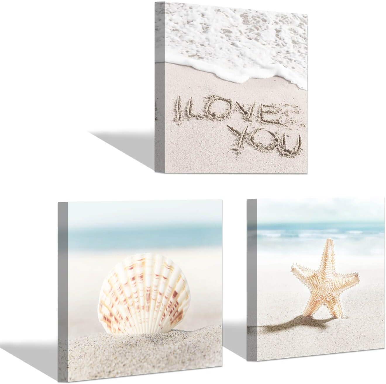 Beach Wall Art Canvas Prints - Set of 3 Nautical Decorations Ocean Starfish Seashell Pictures for Bedroom & Bathroom Decor (12''x12''x3)