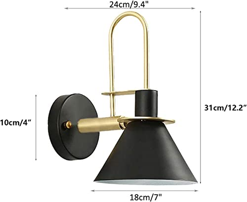 GLING 1 Light Nordic Wall Light Bedside Lamp,Led Remote Control Battery Operated Indoor Wireless Macaron Black Wall Sconce Light Fixture