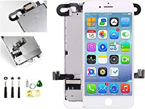 with Front Camera Facing Proximity Sensor Earpiece Speaker Full Assembly Digitizer Display LCD Screen Replacement for iPhone 7 Plus 5.5 Inch White