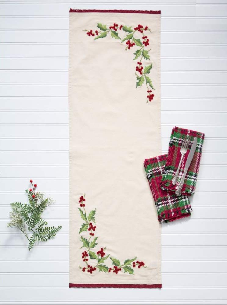 13x40, Antique Hazels Holly Antique Hazel/'s Holly April Cornell Embroidered Table Scarf