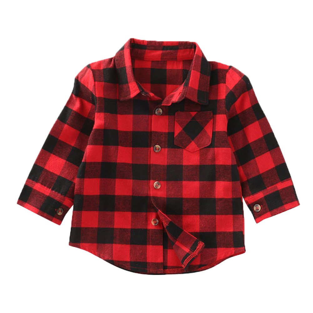 ONE'S Baby Toddler Girls Boys Red Plaid Shirts Long Sleeve Big Check Blouse Autumn Top