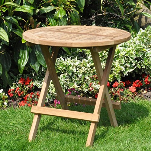 Traditional Solid Teak Wooden Garden Folding Coffee Picnic Table - Delivered Fully Assembled