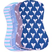 PPOGOO Waterproof Burp Cloths Burpy Bib Set 4 Pack made from Organic Cotton