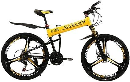 MZLJL montaña de la Bicicleta, X5 Pro Bicicletas Plegables 21 para Hombre de Velocidad de Bicicletas de montaña de 26 Pulgadas del Freno de Disco de Bicicletas, Amarillo, China: Amazon.es: Deportes y