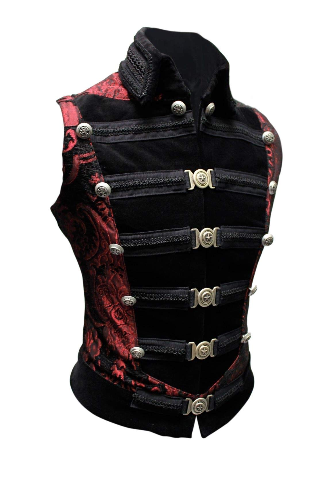 Shrine Men's Victorian Gothic Steampunk Dominion Vest Red Black Tapestry (XXL) by Shrine Of Hollywood