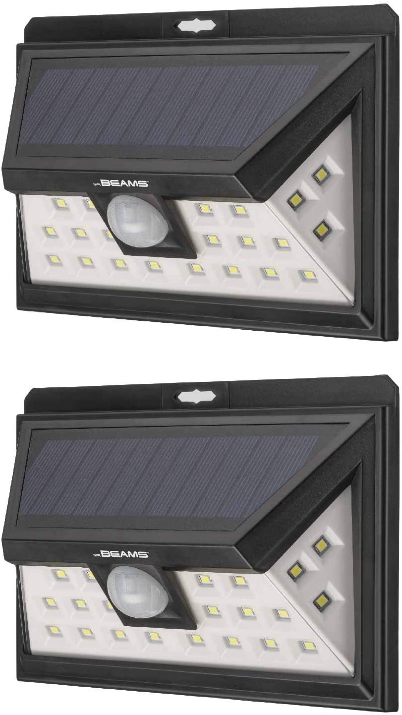 Mr Beams Solar Wedge Plus 24 LED Security Outdoor Motion Sensor Wall Light, 2 pack, Black, 2 Count