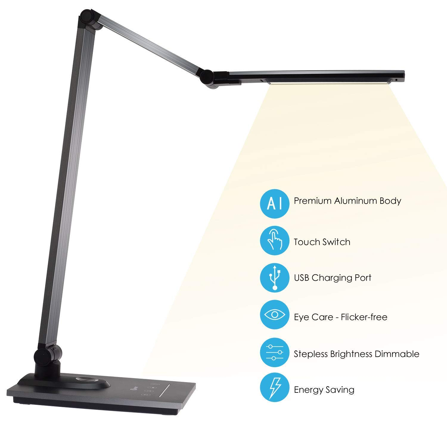 IMIGY Aluminum Alloy LED Desk Lamp with USB Charging Port, 9W Dimmable Office Lamp, Slide Touch Control with Stepless Adjustable Brightness and 3 Color Modes