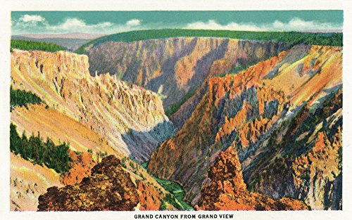 Grand Canyon Yellowstone Park - Yellowstone National Park, Wyoming - Aerial View of Grand Canyon from Grand View (24x36 Giclee Gallery Print, Wall Decor Travel Poster)
