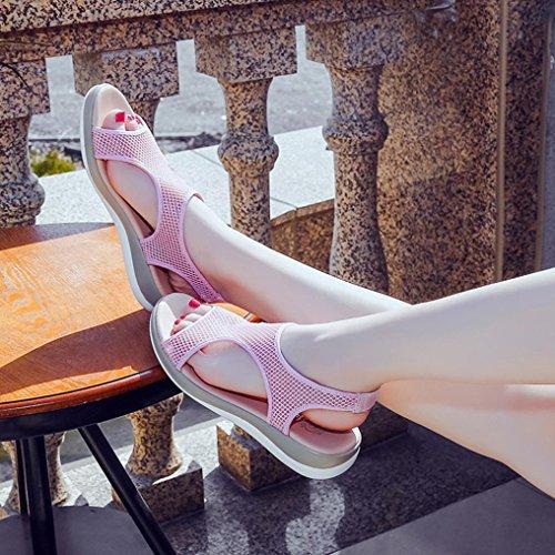 Verano Sandalias PAOLIAN Toe Romano Pescado Mujer Playa Antideslizante de 2018 Deporte de para Senderismo Suela Open Rosa Zapatillas Boca Blanda de Sandalias Vestir de de Zapatos Plataforma qXrw8d1r