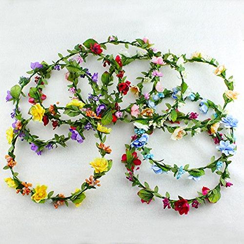 Hippies Flower Headband Garland Crown Festival Wedding Hair Wreath BOHO Floral  Headband (Pink)  Amazon.co.uk  Clothing 16fabfdefe5