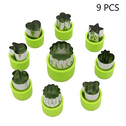 LVEDU - Juego de 9 moldes de cortador de verduras para mini frutas y galletas,