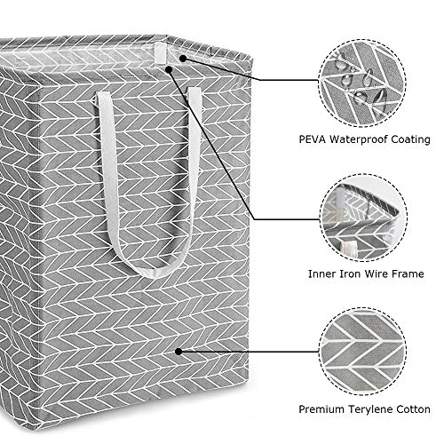 sunvito 72L Freestanding Laundry Hamper, Collapsible Large Clothes Basket, Simple Style Clothes Hamper for Clothing Organization/ Toys Storage/ Bathroom (Gray)