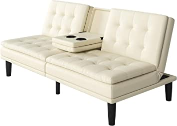 Memory Foam Faux Leather Futon Sofa Bed Couch Cup Holder Pillow Top Wood