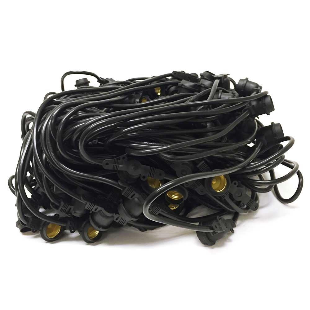 American Lighting Commercial Grade Light String with 165-Sockets, Medium Base, 330-Feet, Black