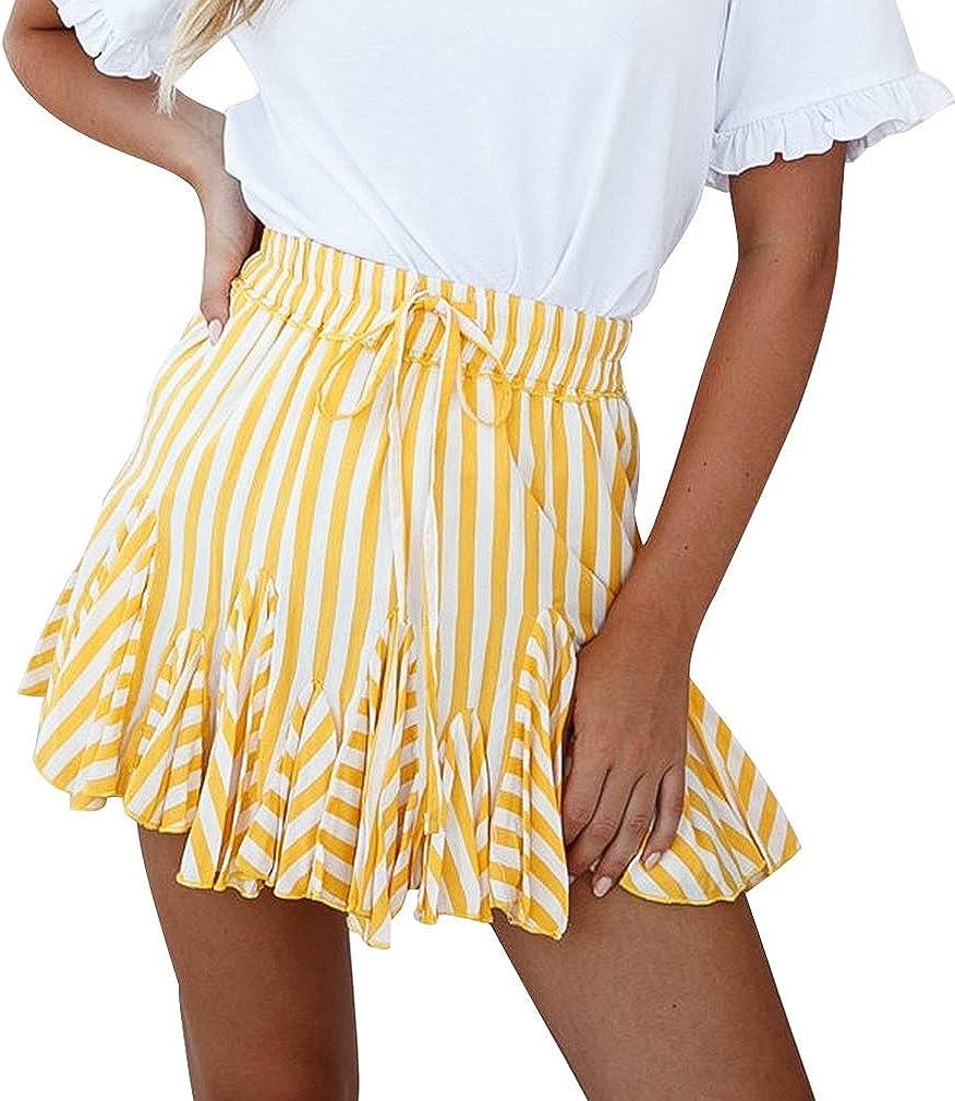 Faldas Cortas Volantes, Mujer Falda Corta de Playa con Estampado Floral Volantes en la Cintura Alta de Boho de Verano Mini Faldas Encaje Elastica Swing Skirt