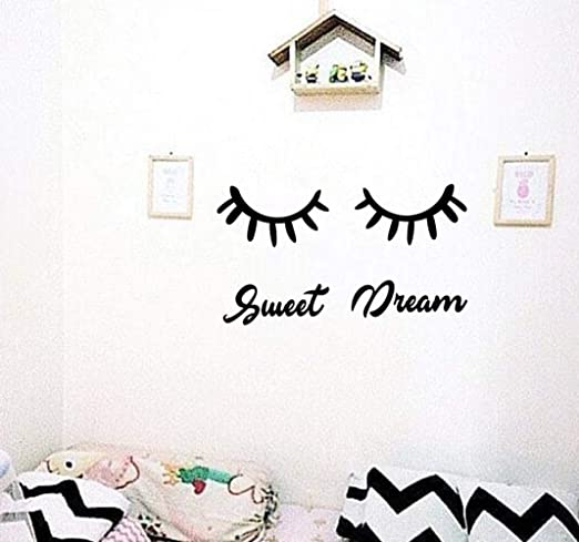 removable closed eyes eyelash pattern wall sticker home girls bedroom decor RDR