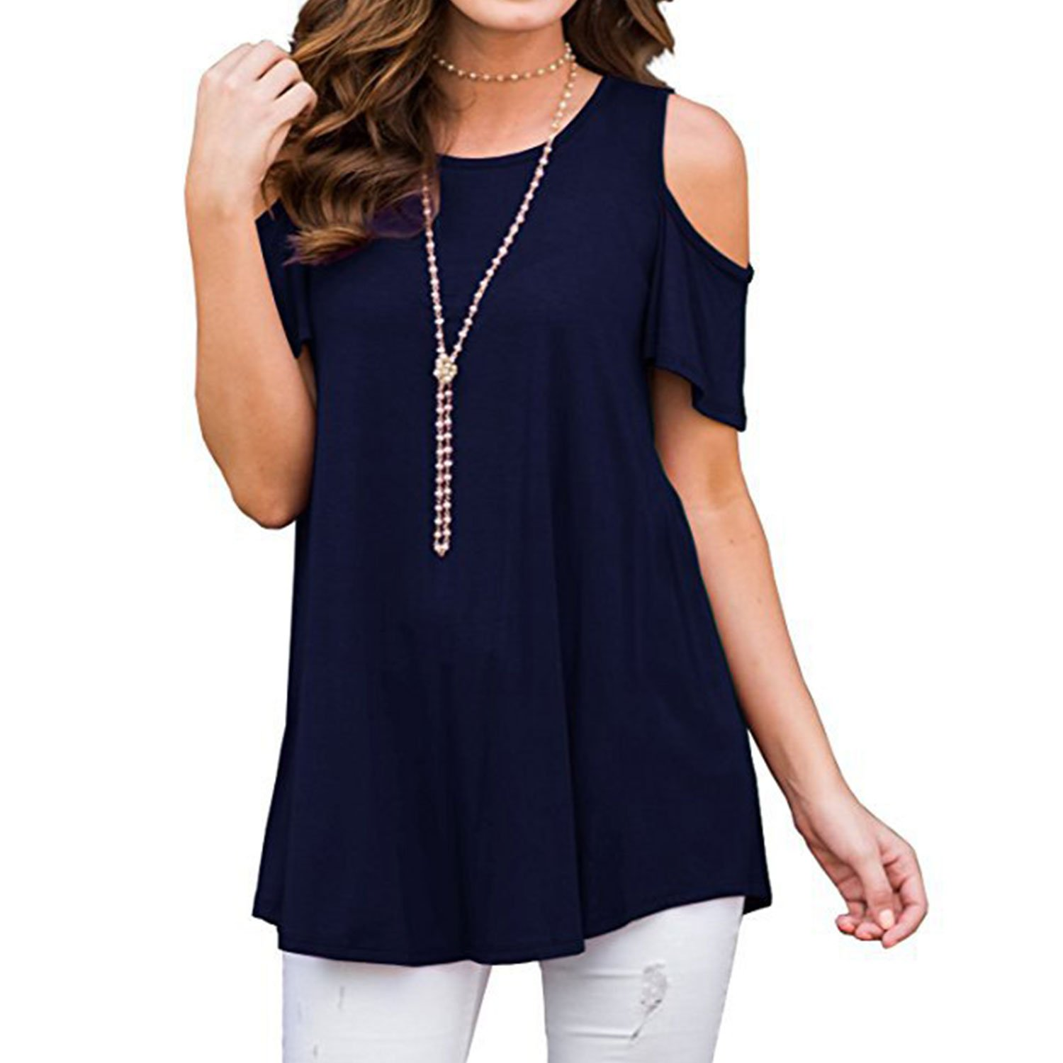 Lisik Women's Short Sleeve Casual Cold Shoulder Tunic Tops Loose Blouse Shirts (Navy Blue XXL)