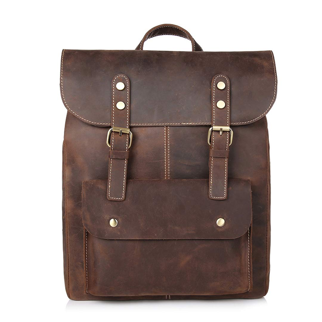 AINiubia Men First Layer Cow Leather Backpacks Vintage Daypacks Crazy Horse Rucksacks Travel Bags