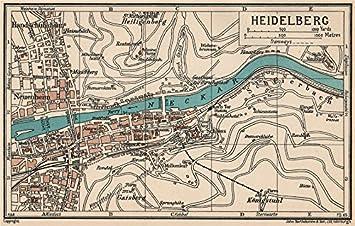 heidelberg vintage town city map plan germany 1933 old antique vintage map