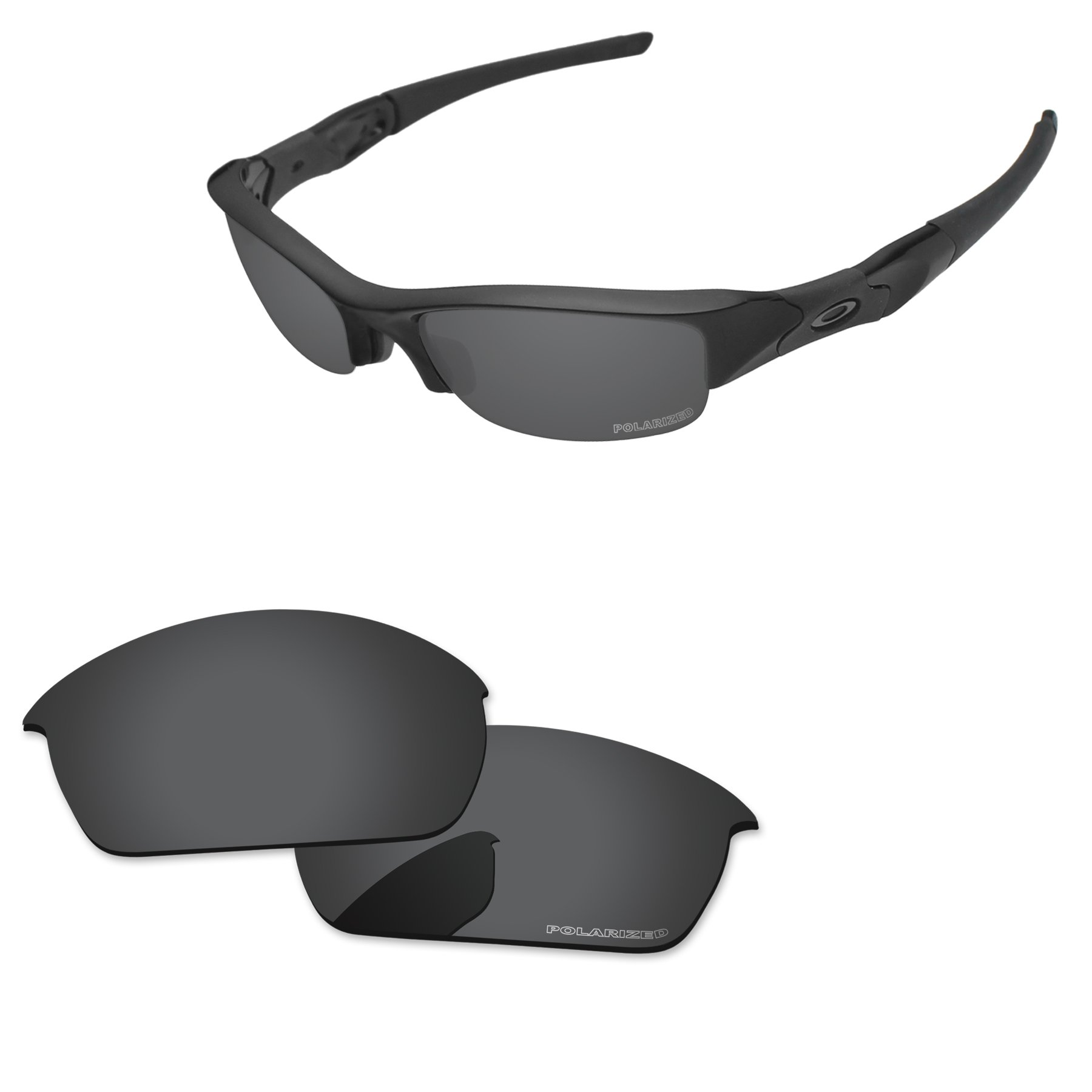PapaViva Replacement Lenses for Oakley Flak Jacket Black Grey - Polarized by PapaViva
