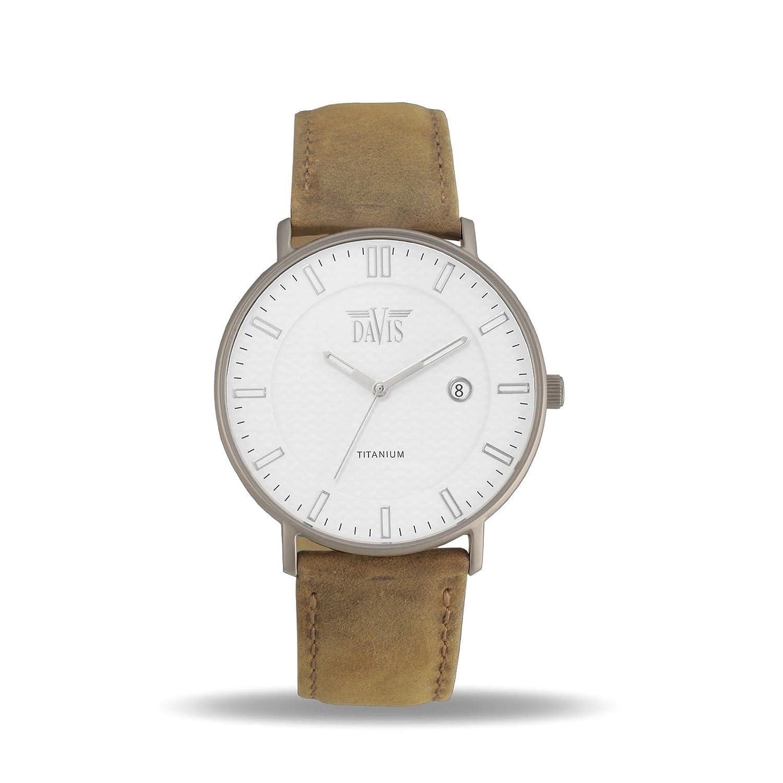 Davis 2071 - Herren Damen Design Uhr Titan Extra-Flach Ziffernblatt Weiß Datum Beige Leder Armband