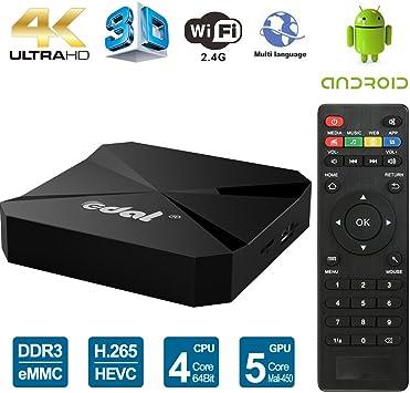 Edal T95E Android TV Box RK3229 Quad Core 32bit TV Box 1GB/8GB WiFi 2.4GHz Support 4K HD Video HDMI TV Box: Amazon.es: Electrónica