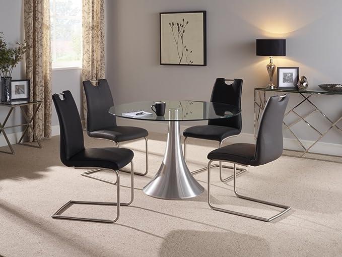 Cádiz 120 redondo claro fijo Base de aluminio de cristal templado mesa y 4 Malaga blanco sillas de piel sintética con patas de acero inoxidable pulido ...