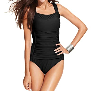 35d80d359ab68 Amazon.com: Swim Solutions Ruched One-Piece Swimsuit, Black, 8: Clothing