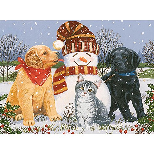 Bits and Pieces - 300 Large Piece Glitter Jigsaw Puzzle for Adults - Snowboy with Little Friends by Artist William Vanderdasson - Puppies and Kittens - Christmas Holiday - 300 pc Jigsaw