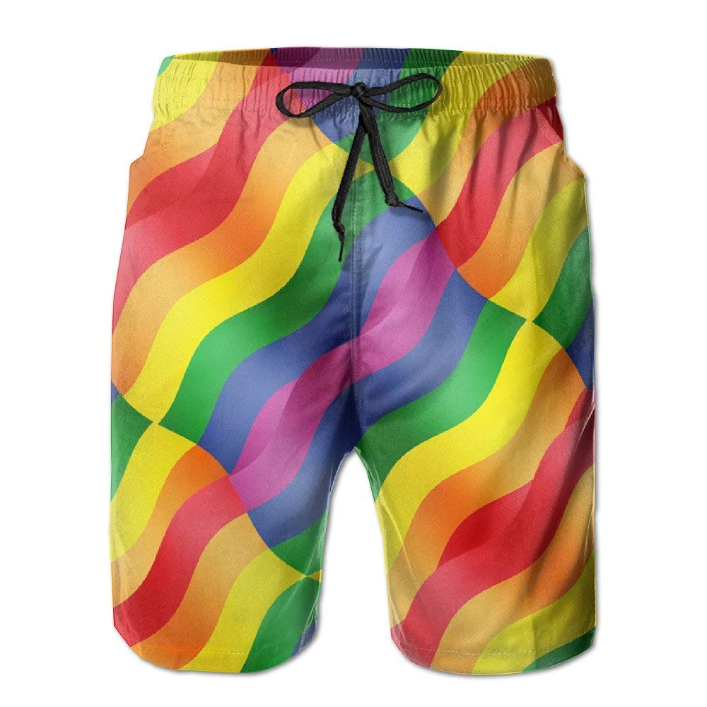 Mens Quick Dry Beach Shorts Rainbow Colors Wave Floral Boardshorts Swim Surf Trunks