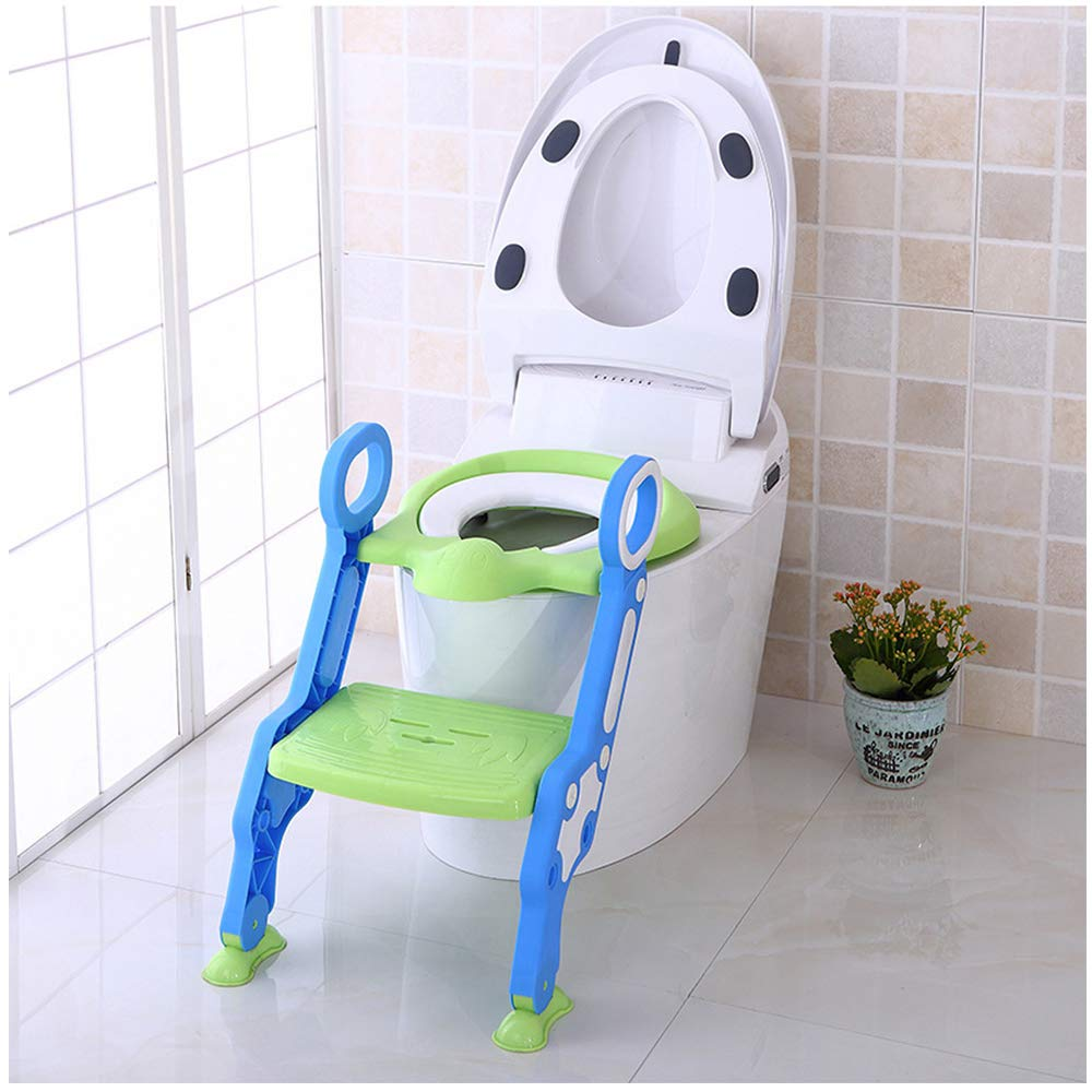 Potty Training Seat Ladder | Toddler Potty Toilet Chair with Step Stool Ladder for Boy and Girl | Kid Children Adjustable Stair Non-Slip Armrest Soft Cushion Potty Chair (Blue Green Children's Toilet)