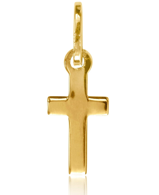 MyGold Kreuz Anhänger (ohne Kette) Gelbgold 750 Gold (18 Karat) Klein 17mm x 6mm Mini Taufe Taufgeschenk Kommunion Kreuzkette Goldkreuz Goldanhänger Goldkreuz Kettenanhänger Rapallo V0011257