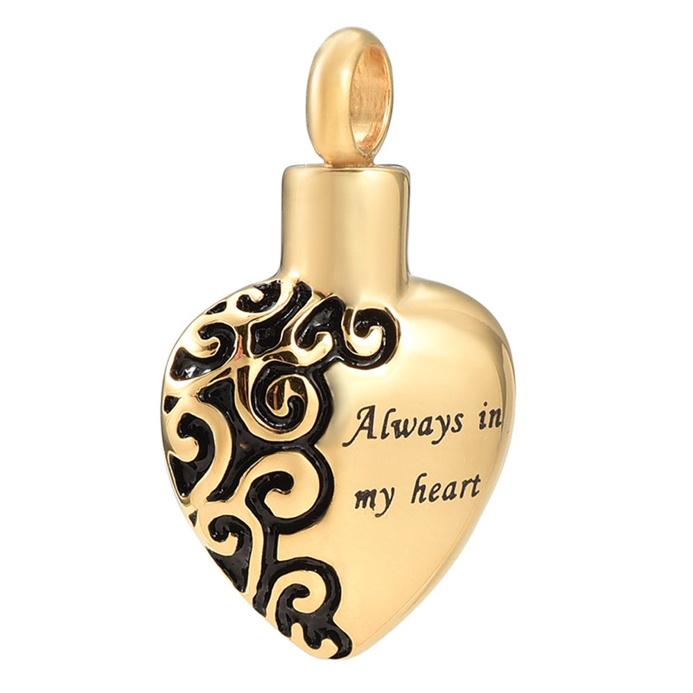 constantlife Always in My Heart Hypoallergenic Stainless Steel Cremation Urn Pendant Necklace Keepsake Jewelry for Women Constanlife Jewelry IJY2472