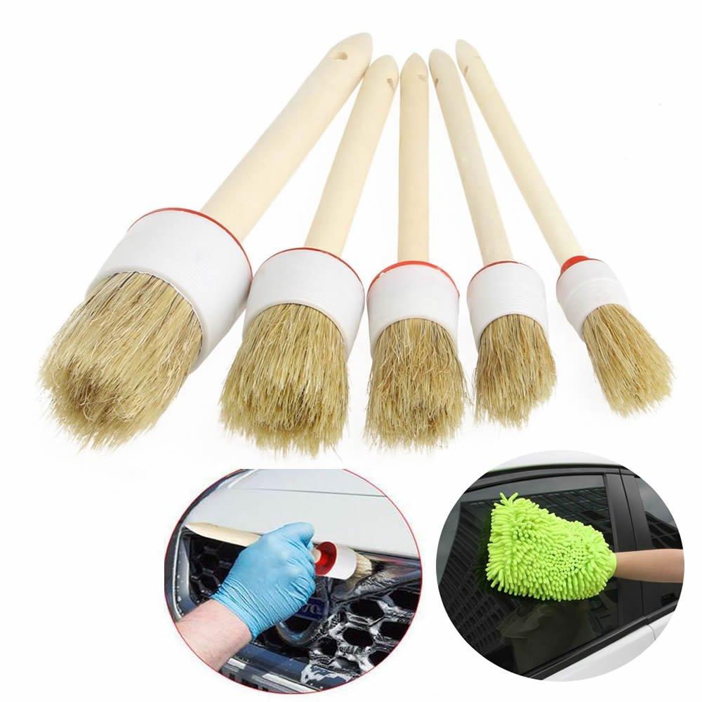 GOOTRADES 5 Pcs-Set Car Detailing Bristle Brushes for Wheels, Air Vents ,Trim Plus Microfiber Glove