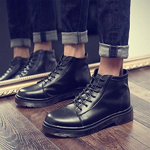 Las botas de los hombres de la tendencia del invierno altos de felpa de algod¨®n al aire libre zapatos antideslizantes black