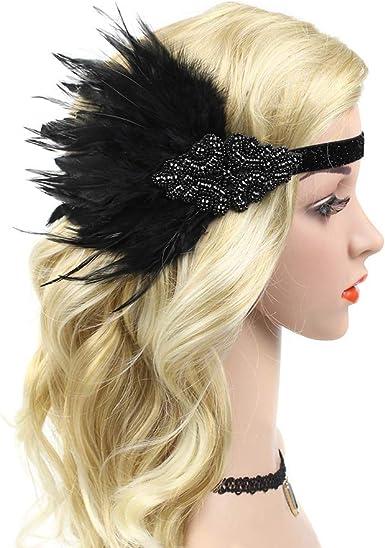 1920s Flapper Headband Black Feather Luxury Great Gatsby Headpiece Fancy Dress u