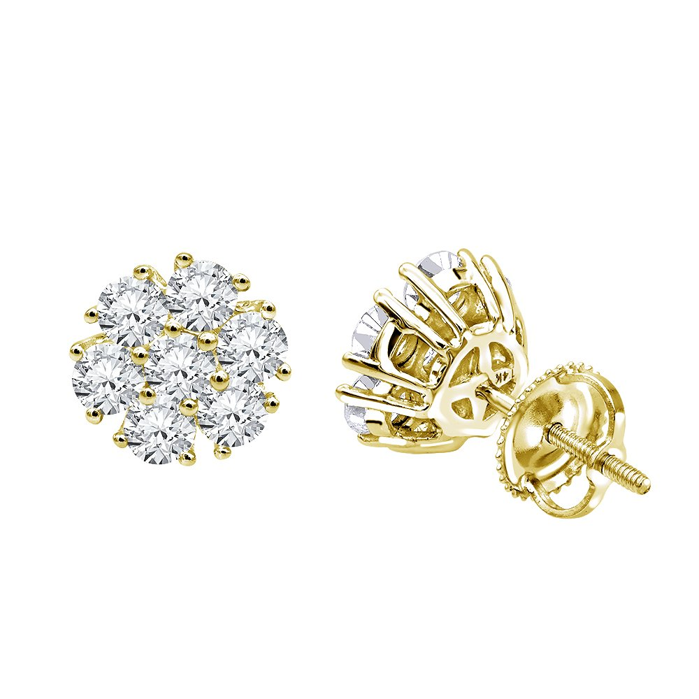 Ladies 14K Gold Diamond Flower Cluster Earrings Studs 1.5ctw (Yellow Gold) by Luxurman