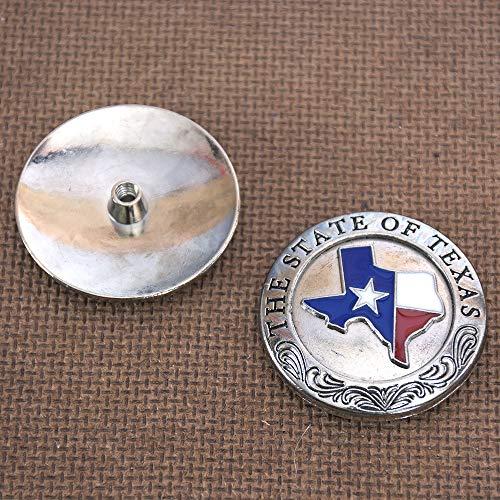 (HILASON Set of 2 Nickel Silver Conchos Enamel Texas State Saddle Headstall Horse)