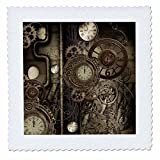 3dRose Heike Köhnen Design Steampunk - Steampunk design, clocks and gears - 16x16 inch quilt square (qs_262388_6)