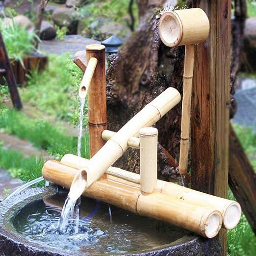 Fuente De Agua del Jardín del Zen Fuente De Agua De Bambú Bomba Oscilante Paisaje del Agua Decoración Japonesa del Jardín: Amazon.es: Hogar
